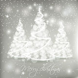 White abstract Christmas trees on grey background. Stock Images