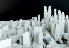 White abstract city from cubes on black background Stock Photo