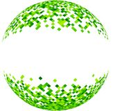 Abstract green 3d ball. White abstract 3d ball with green squares pattern. Vector paper illustration royalty free illustration