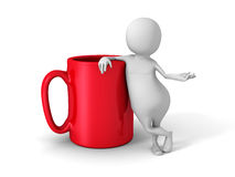 White Abstract 3d People With Red Tea Or Coffee Mug Royalty Free Stock Image