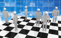 White abstract 3d people stand on chessboard. With blue glass office wall on a background. Office workers competition concept Stock Photo