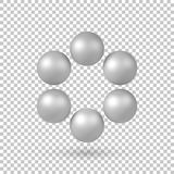 White Abstract 3D Shape. White abstract array with pearl spheres, atom, molecule grid with realistic shadow and transparent background for logo, design concepts Royalty Free Stock Images