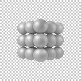 White Abstract 3D Shape. White abstract array with pearl spheres, balls, atom, molecule grid with realistic shadow and transparent background for logo, design Stock Photos