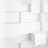 White abstract empty interior with cubes. On wall. 3d illustration Stock Photography