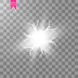 White abstract energy shock explosion special light effect with spark. Vector glow power lightning cluster. Electric royalty free illustration