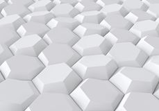 White abstract geometric background with hexagons. 3D rendering Royalty Free Stock Images