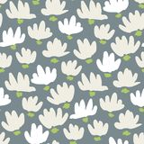 White Abstract Gestural Flower Head Vector Seamless Pattern. Simple Clean Floral Backrgound. Snowdrop, Lily royalty free illustration