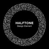 White Abstract Halftone Circle Logo Design Element on black background Stock Image