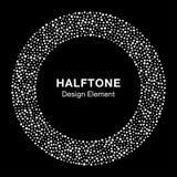 White Abstract Halftone Circle Logo Design Element on black background Stock Image