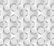 White abstract hexagonal geometric pattern. Origami paper style. 3D rendering seamless texture. White abstract hexagonal geometric pattern. Origami paper style Royalty Free Stock Images