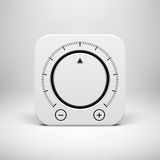 White Abstract Icon with Volume Knob Button Stock Photos
