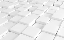 White abstract image of cubes background. 3d render Stock Photos