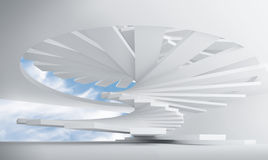 White abstract interior with spiral stairs. 3d illustration: white abstract architecture interior with spiral stairs installation Royalty Free Stock Photography
