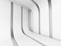 White Abstract Modern Architecture Interior Background. 3d Render Illustration Stock Images