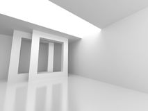 White Abstract Modern Architecture Interior Background. 3d Render Illustration Stock Photos