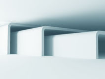 White Abstract Modern Architecture Interior Background. 3d Render Illustration Stock Photography