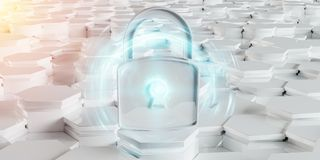 White padlock icon on hexagons background 3D rendering. White abstract padlock icon on hexagons background 3D rendering Stock Images