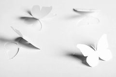 White abstract paper cutout butterflyes Stock Images