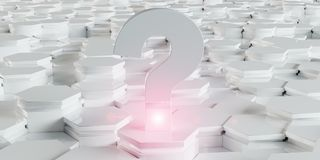 White question icon on hexagons background 3D rendering. White abstract question icon on hexagons background 3D rendering Stock Photo