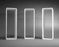 White Abstract Rectangle Frames Standing in the Gray Room. White Abstract Rectangle Frames Standing in the Empty Gray Room Stock Illustration