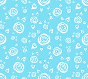 White abstract roses. Seamless vector pattern. White abstract roses in a blue background. Seamless vector wallpaper Stock Image