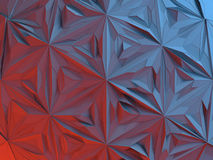 White abstract shape illuminated by red and blue light. Low poly background. 3d rendering Stock Photography