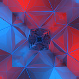 White abstract shape illuminated by red and blue light. Low poly background. 3d rendering Royalty Free Stock Images