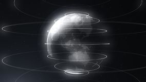 White abstract sphere. Connected white dots with lines. Globalization interface. Planet is situated on the centre. Close stock illustration