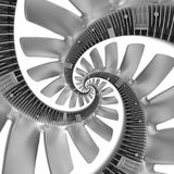 on white abstract spiral fractal made of truck diesel engine fan silver air screw. Spiral background pattern engine fan. Truck engine fan abstract spiral Stock Photo