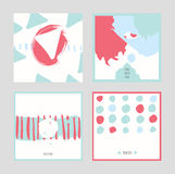White abstract square cards, hand drawn with brush and stripes, brush blobs and smears. Pink and blue accents. Vector illustration Royalty Free Stock Image