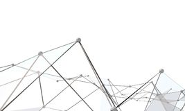 White abstract technology background. With plexus elements. 3D rendering Royalty Free Stock Image