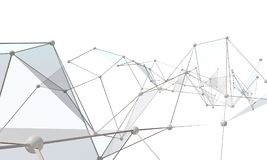 White abstract technology background. With plexus elements. 3D rendering Stock Photos