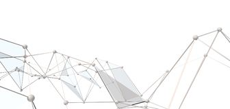 White abstract technology background. With plexus elements. 3D rendering Stock Photography