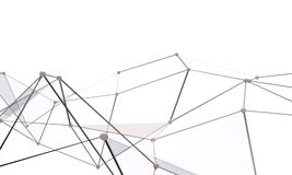 White abstract technology background. With plexus elements. 3D rendering Royalty Free Stock Photo