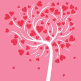 White abstract tree with small and big pink hearts on a pink background for Valentines day. White abstract tree with small and big pink hearts and many branches Vector Illustration
