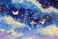 Free White Abstractions Against The Background Of The Night Blue-violet Sky. Snow Falls, Christmas, A Fairy Tale, A Dream Original Oil Stock Images - 105293664