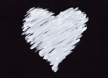 White acrylic heart on black Royalty Free Stock Photography