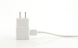 White adapter Charger with usb cable on white background Stock Images