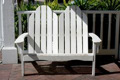 White adirondack bench Royalty Free Stock Photo