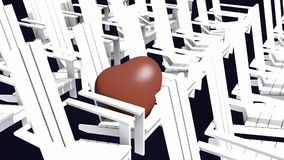 White Adirondack chairs. 3D illustration white Adirondack chairs with red heart Royalty Free Stock Photo