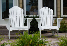 White Adirondack Chairs Royalty Free Stock Photos