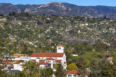 White Adobe Methodist Church Houses Mountain Santa Barbara alifo Stock Photos