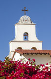 White Adobe Mission Santa Barbara Cross Bell California Stock Photography