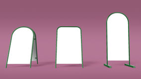 White advertising banner pillar stand mockup template isolated rendering Royalty Free Stock Photo