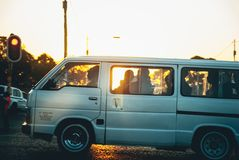 White african taxi with passengers royalty free stock photos