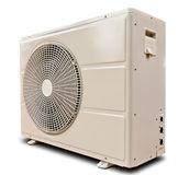White air compressor isolated tilted left Stock Photos