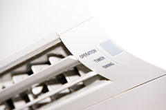 White air-conditioner. Unit inside block set Royalty Free Stock Photography