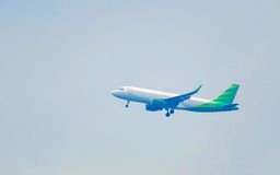 White air plane take off. From airport Stock Images