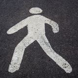 A white pedestrian sign on the road Royalty Free Stock Photo