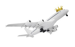 White airplane with the crown. Isolated render on a white background Royalty Free Stock Photo